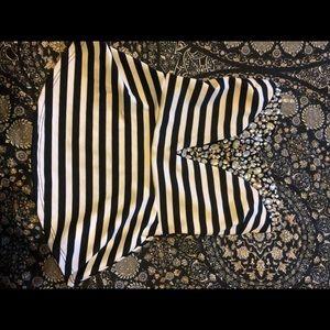 Striped and jeweled peplum top